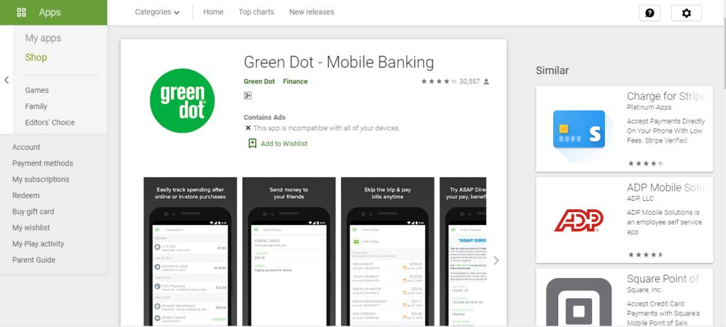 green dot balance check text