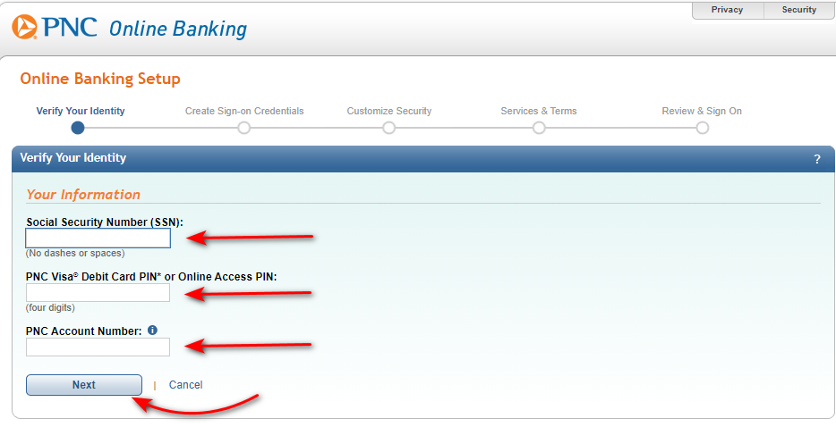 Enroll into PNC bank online