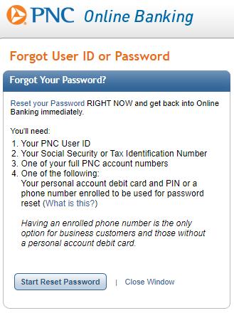 reset PNC bank password