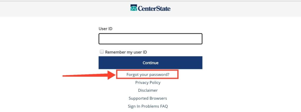 Center State Bank Forget password