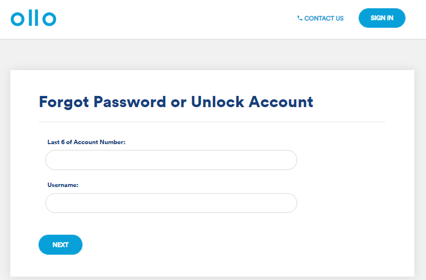 Ollo Credit card login