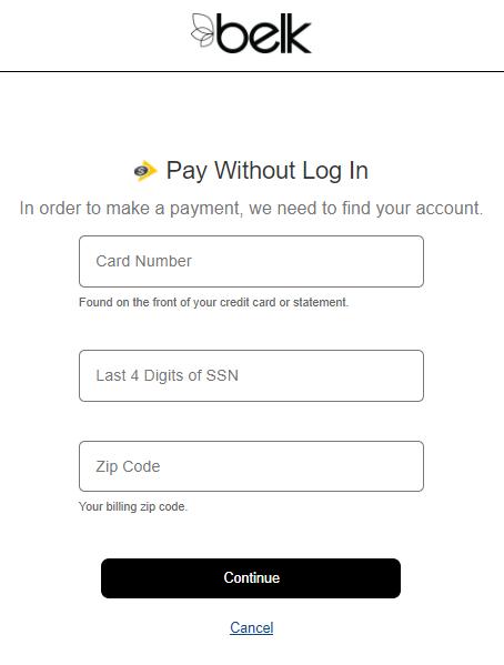 Pay Belk card bill
